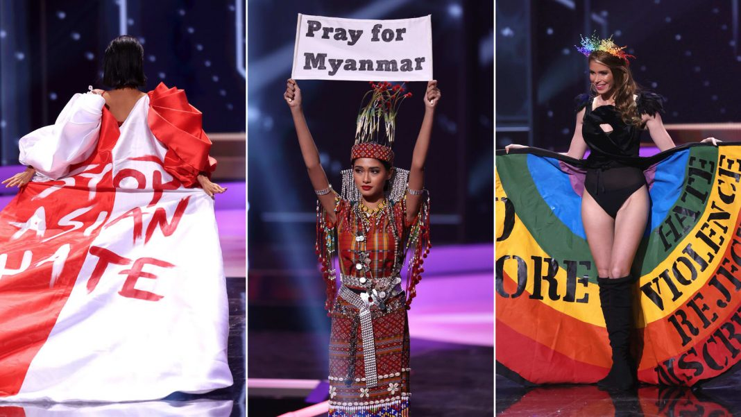 Left to right: Miss Universe Bernadette Belle Ong, Miss Universe Myanmar Ma Thuzar Wint Lwin, Miss Universe Uruguay Lola de los Santos during the National Costume segment of Miss Universe 2021. Credit: Getty Images